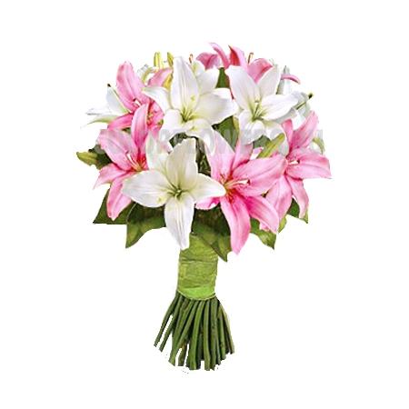 Букет фламинго лилия белая 15 шт